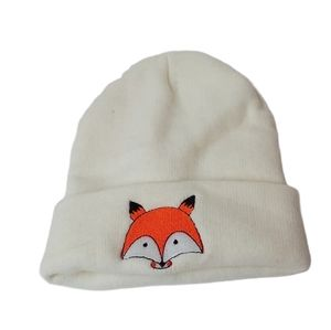 Cream Fox Beanie Hat